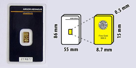 Zlatý investiční slitek, 1 gram