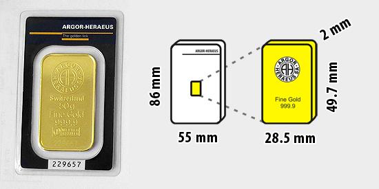 Zlatý investiční slitek, 50 gramů