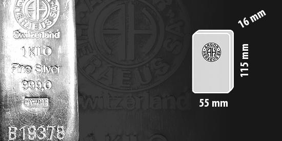 Stříbro investiční cihla Argor Heraeus, 1 kg