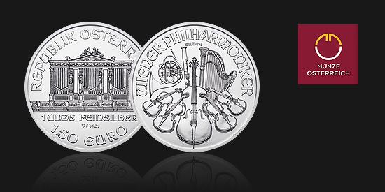 Stříbrná mince Wiener Philharmoniker, hmotnost 1 oz