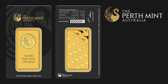 Zlatý investiční slitek, 100 gramů, Perth Mint