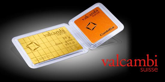 Zlatý investiční slitek 50x1g CombiBar, Valcambi