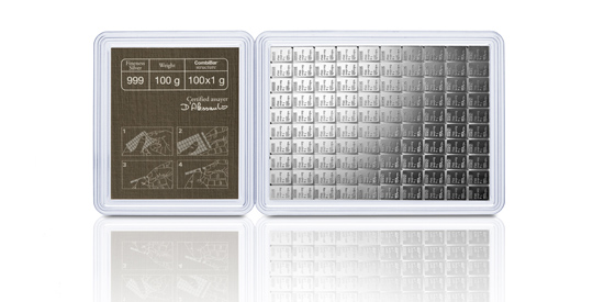 Stříbrný investiční slitek 100x1g CombiBar, Valcambi