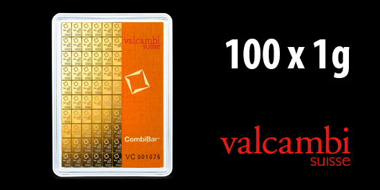 Zlatý investiční slitek 100x1g CombiBar, Valcambi