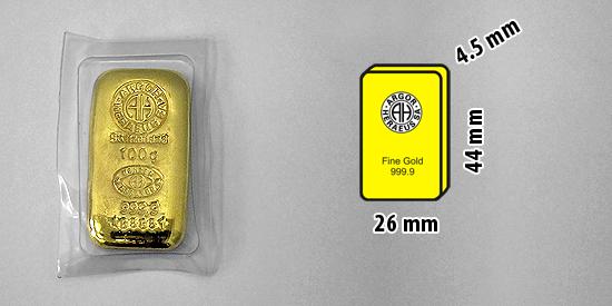 Zlatý investiční slitek, 100 gramů, Argor Heraeus